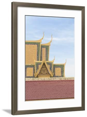 Roofs at the Royal Palace Complex, with the Silver Pagoda One at the Top, Phnom Penh, Cambodia--Framed Photographic Print