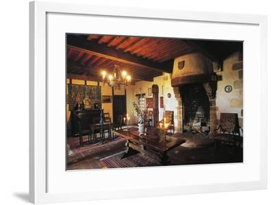Dining Room of Chateau of Busseol, Founded in 12th Century, Auvergne, France--Framed Photographic Print