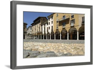 Paving in Piazza Della Repubblica and its Arcades, Novara, Piedmont, Italy--Framed Photographic Print