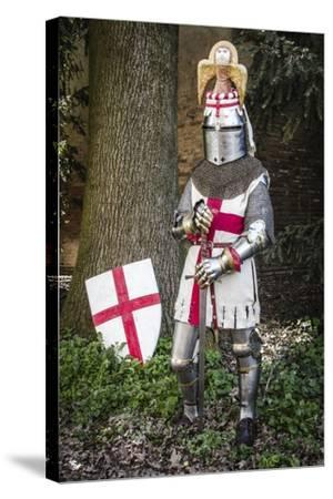 Historical Reenactment: Knight with Armour, Chain Mail and Sword, 14th Century--Stretched Canvas Print