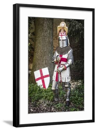 Historical Reenactment: Knight with Armour, Chain Mail and Sword, 14th Century--Framed Photographic Print