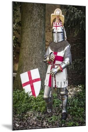 Historical Reenactment: Knight with Armour, Chain Mail and Sword, 14th Century--Mounted Photographic Print