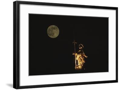 Madonnina Atop the Cathedral of Milan, Nighttime with Full Moon, Lombardy, Italy--Framed Photographic Print