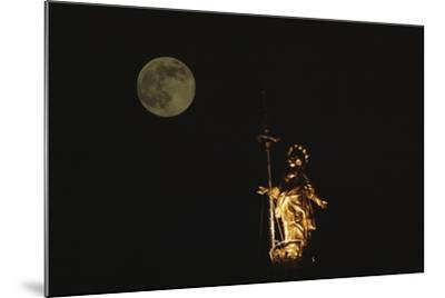 Madonnina Atop the Cathedral of Milan, Nighttime with Full Moon, Lombardy, Italy--Mounted Photographic Print