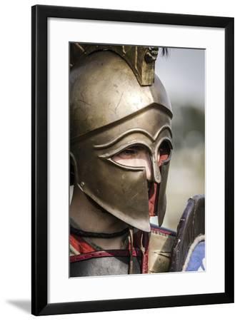 Historical Reenactment: Ancient Greek Warrior Wearing Corinthian Helmet--Framed Photographic Print