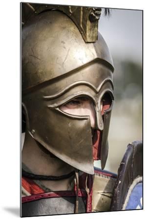 Historical Reenactment: Ancient Greek Warrior Wearing Corinthian Helmet--Mounted Photographic Print
