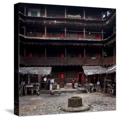 Fujian Tulou (Fortified Earth Building), Tin Shi Lou, Meilin, Fujian Province, China--Stretched Canvas Print