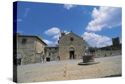Facade of a Church, Romanesque Church, Piazza Roma, Monteriggioni, Tuscany, Italy--Stretched Canvas Print