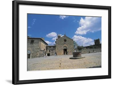 Facade of a Church, Romanesque Church, Piazza Roma, Monteriggioni, Tuscany, Italy--Framed Photographic Print