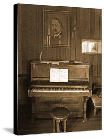 Robert Louis Stevenson's Piano in the Great Hall, Villa Vailima, Apia, Samoa--Stretched Canvas Print