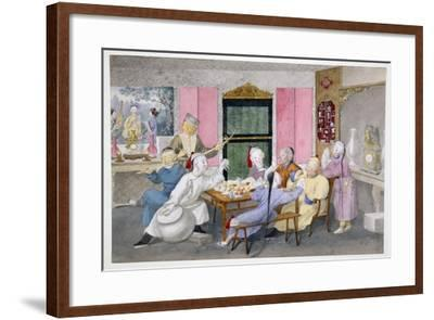 Mandarin Being Entertained by Musicians C.1860--Framed Giclee Print