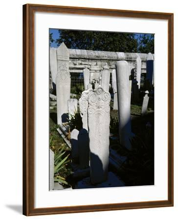 Turkey. Istanbul. Ottomans Stone Stelae. Inscriptions. Cemetery of Suleymaniye Mosque--Framed Photographic Print