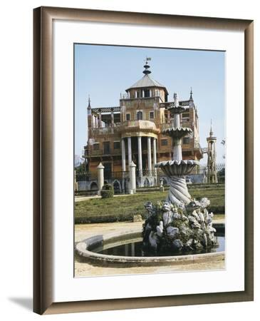 Close-Up of a Fountain in Front of a Palace, Chinese Palace, Palermo, Sicily, Italy--Framed Photographic Print
