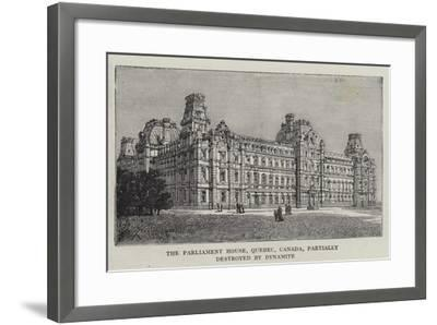 The Parliament House, Quebec, Canada, Partially Destroyed by Dynamite--Framed Giclee Print
