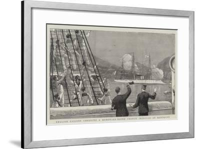 English Sailors Cheering a Homeward Bound French Ironclad at Hongkong--Framed Giclee Print