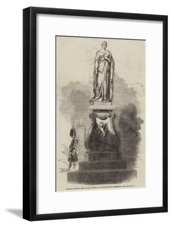 Colossal Statue of Her Majesty, in Front of Holyrood House, Edinburgh--Framed Giclee Print