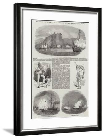 The Civil War in China, HMS Hermes in the Yang-Tze-Kiang River--Framed Giclee Print