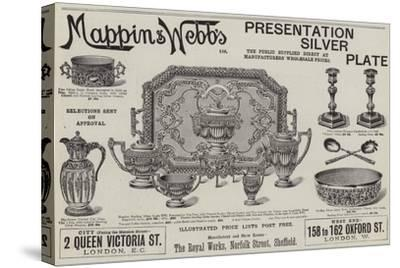 Advertisement, Mappin and Webb's Presentation Silver Plate--Stretched Canvas Print