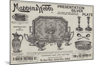 Advertisement, Mappin and Webb's Presentation Silver Plate--Mounted Giclee Print
