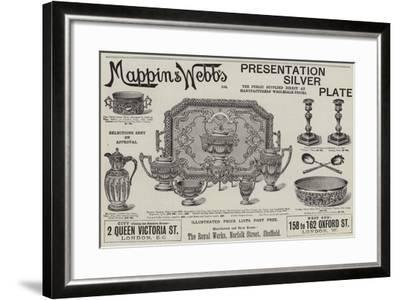 Advertisement, Mappin and Webb's Presentation Silver Plate--Framed Giclee Print