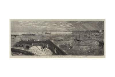 New Breakwater at the Entrance of the Harbour of Colombo, Ceylon--Framed Giclee Print
