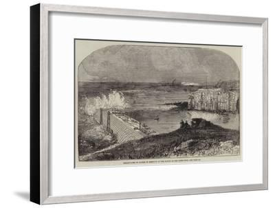 Breakwater in Course of Erection at the Mouth of the River Tyne--Framed Giclee Print