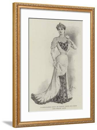 Fashionable Gown of White Crepe-De-Chine and Black Lace--Framed Giclee Print