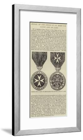 Medal of the Order of St John for Saving Life on Land--Framed Giclee Print