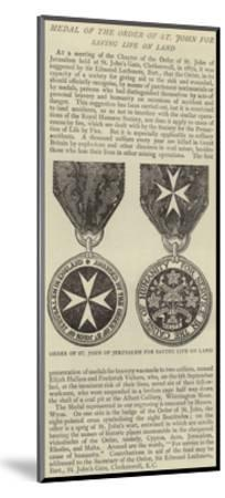 Medal of the Order of St John for Saving Life on Land--Mounted Giclee Print