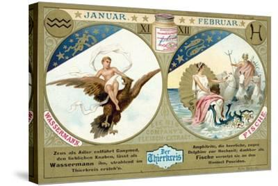 January and February: Aquarius and Pisces--Stretched Canvas Print