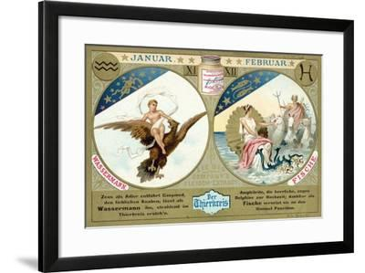 January and February: Aquarius and Pisces--Framed Giclee Print