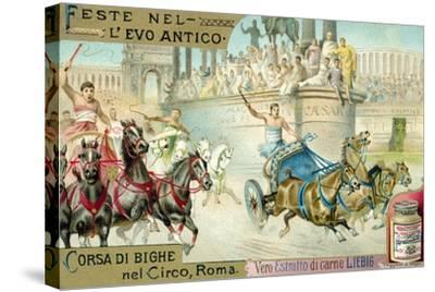 Chariot Race in the Circus, Rome--Stretched Canvas Print