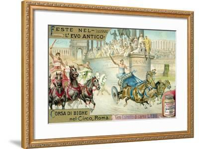 Chariot Race in the Circus, Rome--Framed Giclee Print