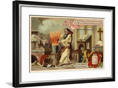 Discovery of Gunpowder by the Monk Berthold Schwarz, 1318--Framed Giclee Print
