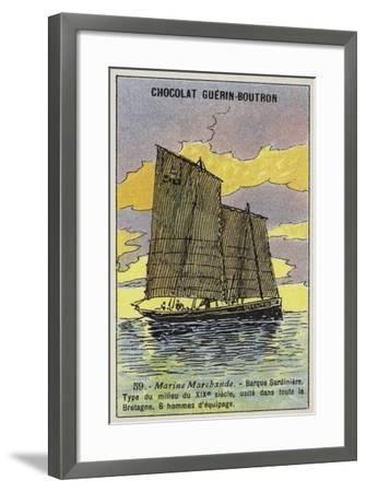Breton Sardine Fishing Boat, Mid 19th Century--Framed Giclee Print