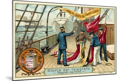 Signalling with Flags at Sea--Mounted Giclee Print