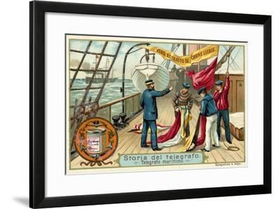 Signalling with Flags at Sea--Framed Giclee Print