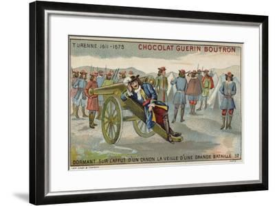 Marshal Turenne Sleeping on a Cannon before a Battle--Framed Giclee Print