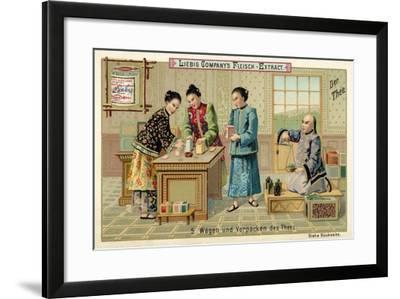 Weighing and Packing Tea--Framed Giclee Print