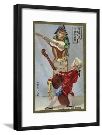 Boy and Monkey Playing Musical Instruments Together--Framed Giclee Print