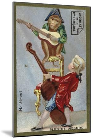 Boy and Monkey Playing Musical Instruments Together--Mounted Giclee Print