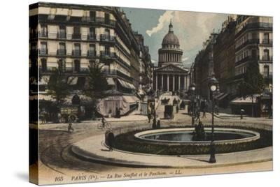 Paris, La Rue Soufflot, Le Pantheon--Stretched Canvas Print