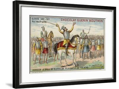 Clovis I Invoking the God of Clotilde at the Battle of Tolbiac, 496--Framed Giclee Print
