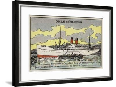 French Cargo Ship of the Compagnie Transatlantique--Framed Giclee Print