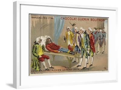 Officers of the Austrian Staff Saluting the Body of General Marceau--Framed Giclee Print