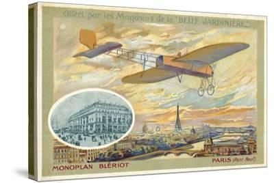Bleriot Monoplane and a View of Paris Showing the Pont Neuf--Stretched Canvas Print