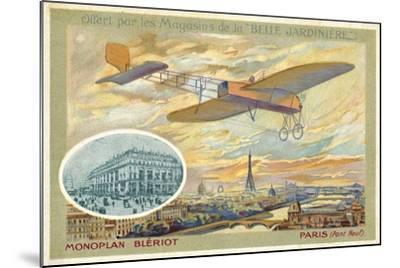 Bleriot Monoplane and a View of Paris Showing the Pont Neuf--Mounted Giclee Print
