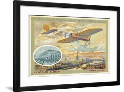 Bleriot Monoplane and a View of Paris Showing the Pont Neuf--Framed Giclee Print