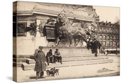 Dogs at the Base of the Statue in Place De La République, Paris, 1905--Stretched Canvas Print