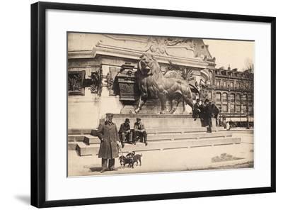 Dogs at the Base of the Statue in Place De La République, Paris, 1905--Framed Giclee Print